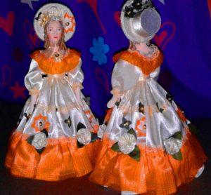 Фарфоровая кукла Скарлетт. Дама в светском атласном летнем платье. 2-я половина 19 века.